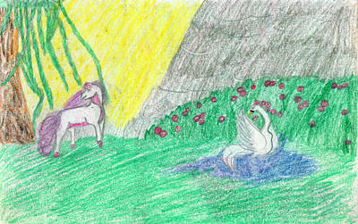 Super Dog Drawing - Swan Well by Kd Neeley