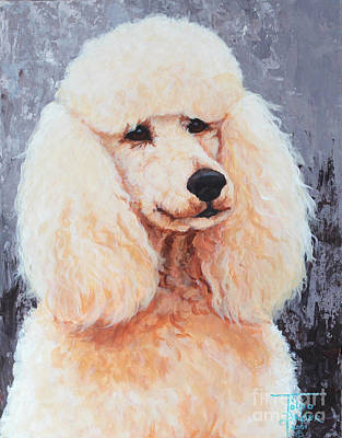 Painting - Attentive Poodle by Art By - Ti   Tolpo Bader