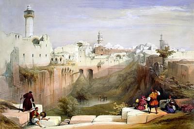 The Pool  Of Bethesda Jerusalem Art Print by Munir Alawi
