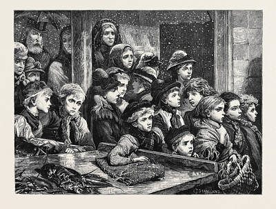 Waste Drawing - The Poor Of London Gratuitous Distribution Of Waste Fish by English School