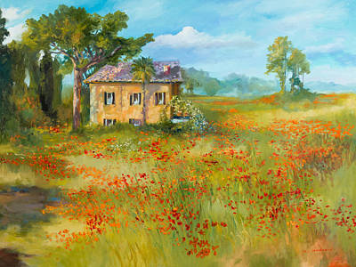 The Poppy Fields Of Tuscany Valley Art Print by Jane Woodward