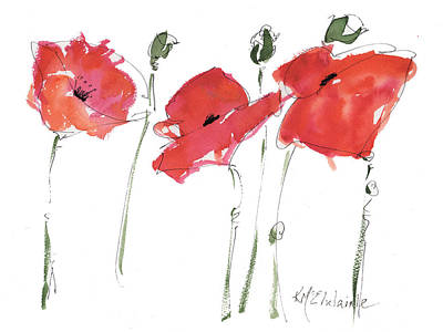 Painting - The Poppy Ladies by Kathleen McElwaine