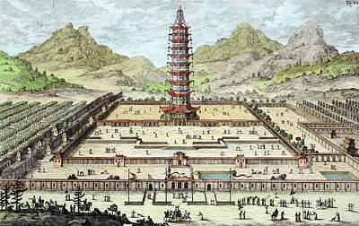China Drawing - The Porcelain Tower Of Nanking, Plate by Johann Bernhard Fischer von Erlach