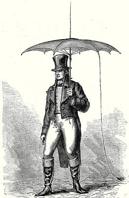 Old Boots Drawing - The Portable Lightning Rod Or The Umbrella-lightning Rod by English School