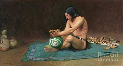 Native American Pottery Painting - The Potter by Pg Reproductions
