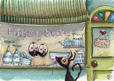Store Fronts Painting - The Pottery Store by Lucia Stewart