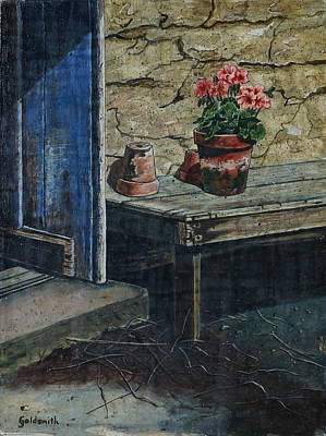 Egg Tempera Drawing - The Potting Bench by William Goldsmith