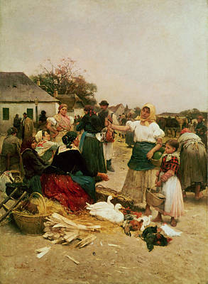 The Hen Painting - The Poultry Market by Lajos Deak Ebner