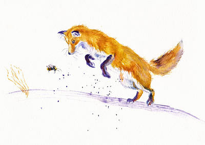 Vixen Painting - The Pouncer by Debra Hall