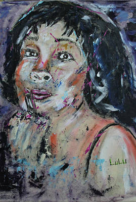 Lips Painting - The Powder Room by Lucy Matta