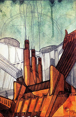 Futurism Architecture Wall Art - Drawing - The Power Plant #1 by Loris Bagnara