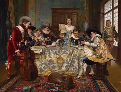 The Practice Recital Print by Adolphe Alexandre Lesrel