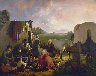 Pioneer Woman Painting - The Prairie Schooner Family by Granger