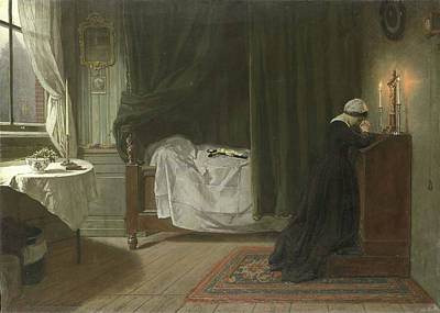 Prayer Drawing - The Prayer For The Deceased, Diederik Franciscus Jamin by Litz Collection