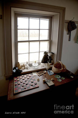 Photograph - The Preacher House Vintage Checkers And Toys In Childs Room 1800s by Artist and Photographer Laura Wrede