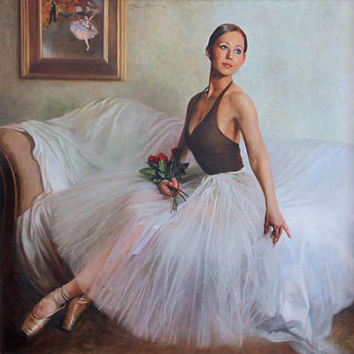 Dance Ballet Roses Painting - The Prima Ballerina by Anna Rose Bain