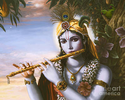 Painting - The Primordial Flute Player by Vishnudas Art