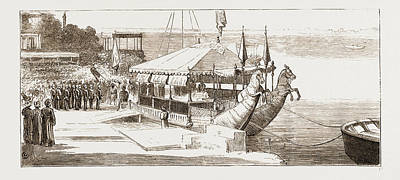 The Prince Of Wales Embarking In The State Barge To Visit Print by Litz Collection