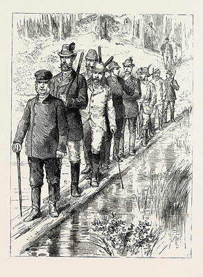 The Prince Of Wales In Sweden Crossing A Morass By A Forest Art Print