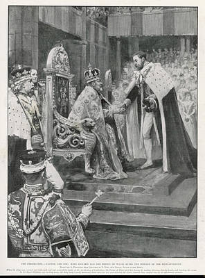 Westminster Abbey Drawing - The Prince Of Wales (later  King George by  Illustrated London News Ltd/Mar
