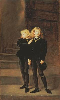 Imprisoned Painting - The Princes Edward And Richard by Sir John Everett Millais