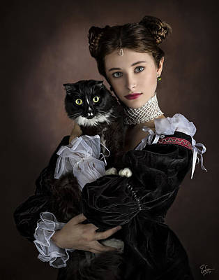 Photograph - The Princess And Her Cat by Endre Balogh