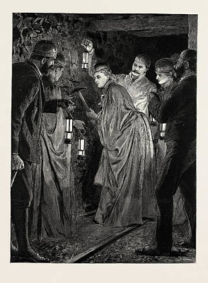 North Wales Drawing - The Princess Beatrice Down A Coal Mine The Princess Picking by Litz Collection