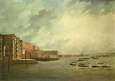 The Procession Of Barges Attending Lord Nelsons Body From Greenwich Hospital, January 8th 1806 Oil Art Print by Daniel Turner
