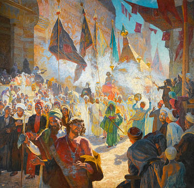 The Procession Of The Mahmal Through The Streets Of Cairo Art Print