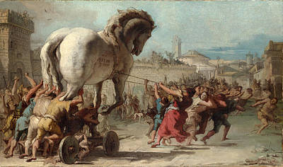 Troy Painting - The Procession Of The Trojan Horse Into Troy by Giovanni Domenico Tiepolo