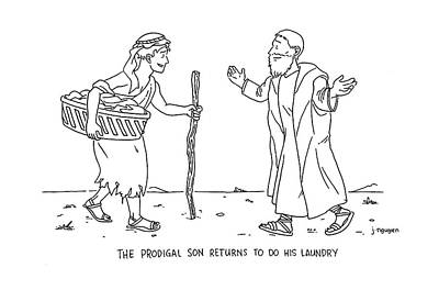 Jeremy Nguyen Drawing - The Prodigal Son Returns To Do His Laundry by Jeremy Nguyen