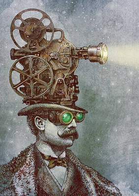 Steampunk Wall Art - Drawing - The Projectionist by Eric Fan