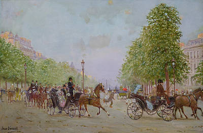 Horse And Carriage Wall Art - Photograph - The Promenade On The Champs-elysees Oil On Canvas by Jean Beraud