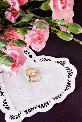 Flower Anniversary Ring Photograph - Old Wedding Rings On A Doily by Vizual Studio