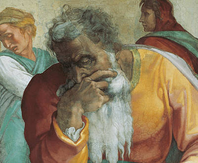 Sombre Painting - The Prophet Jeremiah by Michelangelo