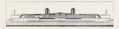 The Proposed Channel Ferry Longitudinal Section Of Ferry Art Print by English School