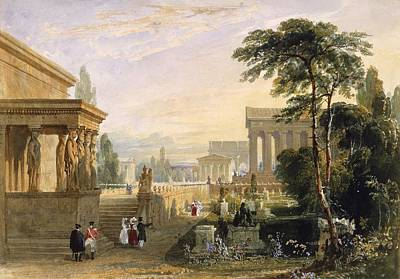 Caryatids Drawing - The Proposed Grand National Cemetery by Francis Goodwin