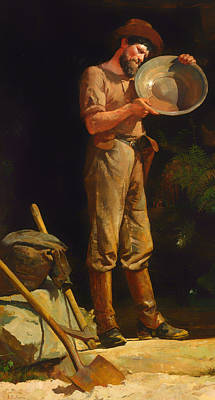 Beautiful Creek Painting - The Prospector  by Mountain Dreams
