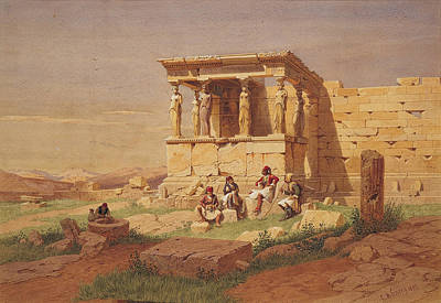 Caryatids Painting - The Prostasis Of The Caryatids On The Erechtheion by Carl Werner