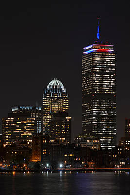 The Prudential Lit Up In Red White And Blue Art Print by Toby McGuire