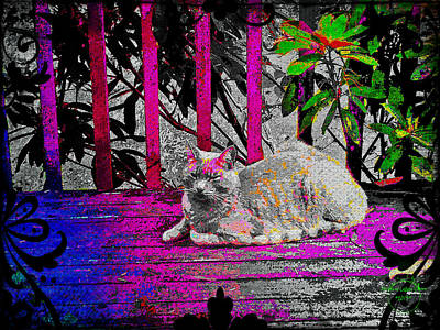 Digital Art - The Psychedelic Cat by Absinthe Art By Michelle LeAnn Scott