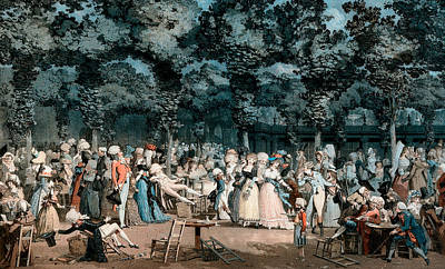 Man And Woman Drawing - The Public Promenade by Philibert-Louis Debucourt