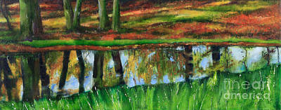 Fallen Leaf On Water Painting - The Puddle At The Edge Of The Woods by Beryl Noyce
