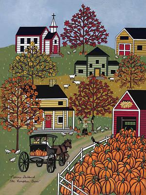 Folk Art Painting - The Pumpkin Barn by Medana Gabbard