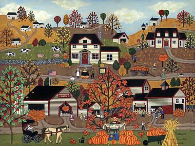 Folk Art Painting - The Pumpkin Festival by Medana Gabbard