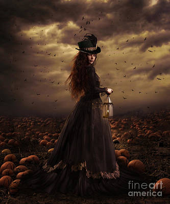 Raven Digital Art - The Pumpkin Patch by Shanina Conway