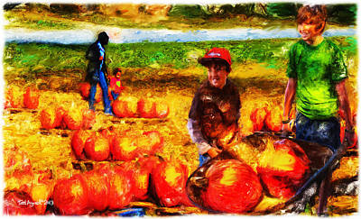 The Pumpkin Patch Art Print by Ted Azriel
