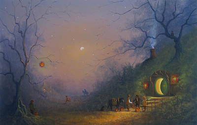The Shire Painting -  A Hobbits Halloween. The Pumpkin Seller. by Joe Gilronan