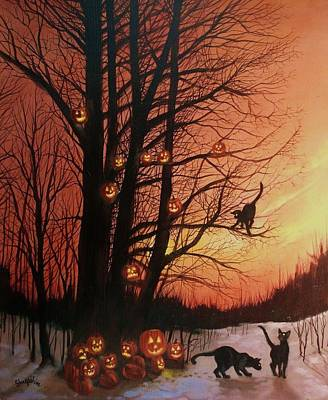 Spooky Painting - The Pumpkin Tree by Tom Shropshire