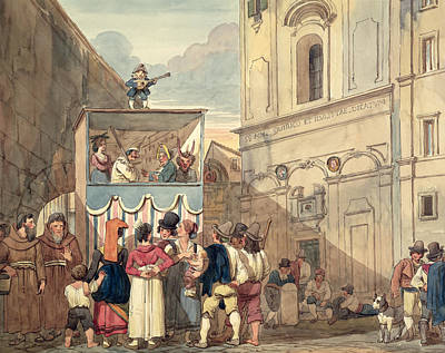 The Puppet Theatre Art Print by Achille Pinelli
